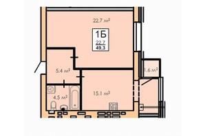 ЖК Andorra: планування 1-кімнатної квартири 49.3 м²