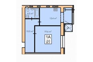 ЖК Andorra: планування 1-кімнатної квартири 51.1 м²