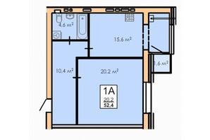 ЖК Andorra: планування 1-кімнатної квартири 52.4 м²