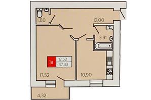 ЖК Андріївський: планування 1-кімнатної квартири 47.33 м²