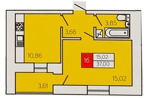 ЖК Андріївський: планування 1-кімнатної квартири 37 м²