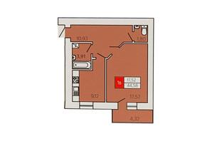 ЖК Андріївський: планування 1-кімнатної квартири 44.58 м²