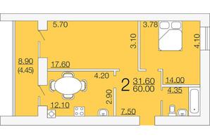 ЖК Апельсин-3: планировка 2-комнатной квартиры 60 м²
