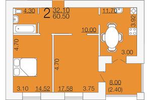 ЖК Апельсин-3: планировка 2-комнатной квартиры 60.5 м²