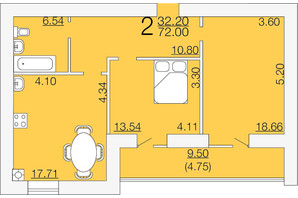 ЖК Апельсин-3: планировка 2-комнатной квартиры 72 м²