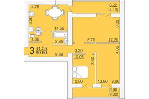 ЖК Апельсин-3: планировка 3-комнатной квартиры 80.6 м²