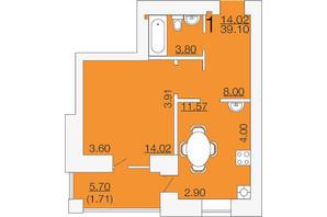 ЖК Апельсин-3: планировка 1-комнатной квартиры 39.1 м²