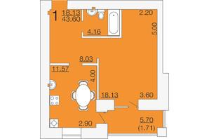 ЖК Апельсин-3: планировка 1-комнатной квартиры 43.6 м²
