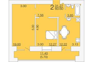 ЖК Апельсин 3: планировка 2-комнатной квартиры 60.6 м²