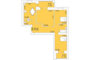 ЖК Апельсин 3: планировка 3-комнатной квартиры 75.8 м²