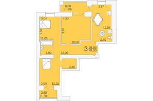 ЖК Апельсин 3: планировка 3-комнатной квартиры 78 м²