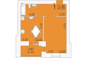 ЖК Апельсин-3: планировка 1-комнатной квартиры 44.2 м²
