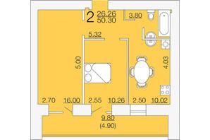 ЖК Апельсин-3: планировка 2-комнатной квартиры 50.3 м²