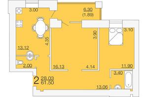 ЖК Апельсин-3: планировка 2-комнатной квартиры 61.5 м²