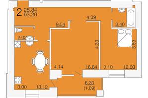 ЖК Апельсин-3: планировка 2-комнатной квартиры 63.2 м²