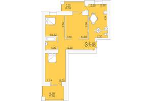 ЖК Апельсин-3: планировка 3-комнатной квартиры 77.8 м²