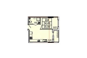 ЖК Аполлон: планування 1-кімнатної квартири 35.99 м²