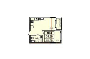 ЖК Аполлон: планування 1-кімнатної квартири 35.74 м²