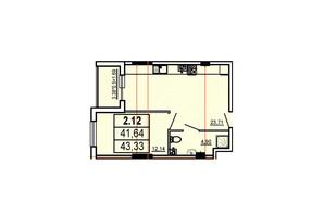 ЖК Аполлон: планування 1-кімнатної квартири 43.33 м²