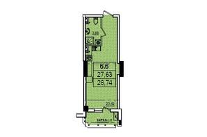 ЖК Аполлон: планировка 1-комнатной квартиры 28.74 м²