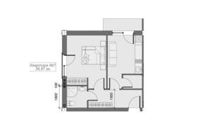 ЖК Arena Village: планування 1-кімнатної квартири 36.87 м²