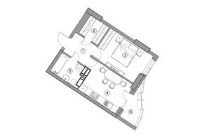 ЖК Aria: планировка 1-комнатной квартиры 37.75 м²