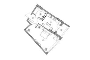 ЖК Aria: планировка 1-комнатной квартиры 47.92 м²
