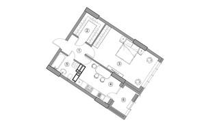 ЖК Aria: планировка 1-комнатной квартиры 49.43 м²