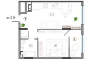 ЖК Арсенал House: планування 1-кімнатної квартири 53.22 м²