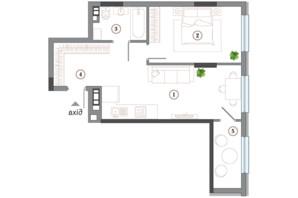 ЖК Арсенал House: планування 1-кімнатної квартири 56.39 м²