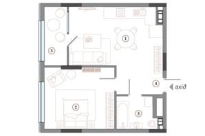ЖК Арсенал House: планування 1-кімнатної квартири 63.02 м²