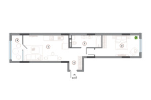 ЖК Арсенал House: планування 1-кімнатної квартири 63.11 м²