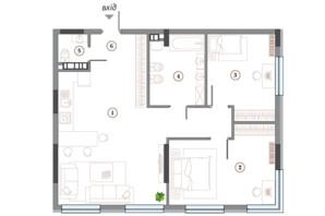 ЖК Арсенал House: планування 2-кімнатної квартири 93.63 м²