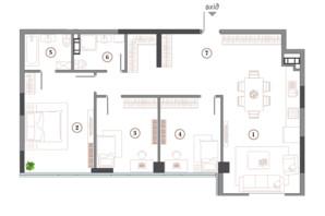 ЖК Арсенал House: планування 3-кімнатної квартири 113.51 м²