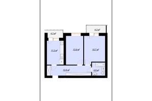 ЖК Арт Хаус 2: планировка 2-комнатной квартиры 60 м²
