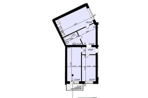 ЖК Арт Хаус 2: планировка 2-комнатной квартиры 77.3 м²
