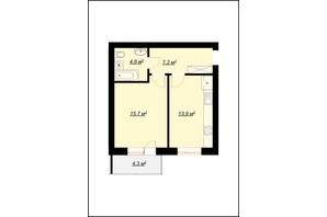 ЖК Арт Хаус 2: планировка 1-комнатной квартиры 42.7 м²