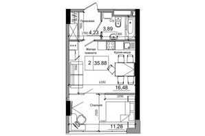 ЖК Artville: планування 1-кімнатної квартири 35.88 м²