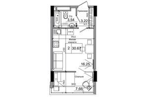 ЖК Artville: планування 1-кімнатної квартири 30.67 м²