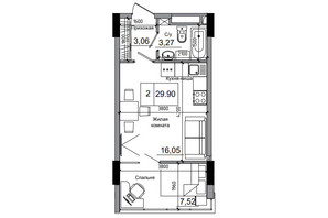 ЖК Artville: планування 1-кімнатної квартири 29.9 м²