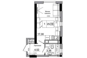 ЖК Artville: планування 1-кімнатної квартири 25.18 м²