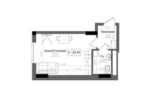 ЖК Artville: планування 1-кімнатної квартири 23.4 м²