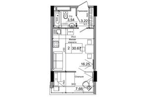 ЖК Artville: планировка 1-комнатной квартиры 30.67 м²
