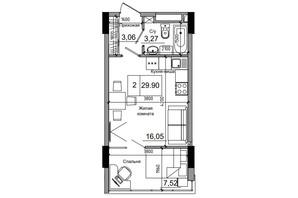 ЖК Artville: планировка 1-комнатной квартиры 29.9 м²