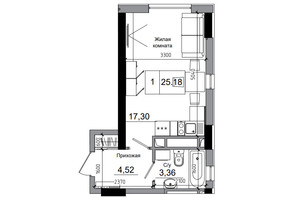 ЖК Artville: планировка 1-комнатной квартиры 25.18 м²