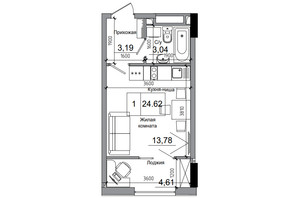 ЖК Artville: планировка 1-комнатной квартиры 24.62 м²