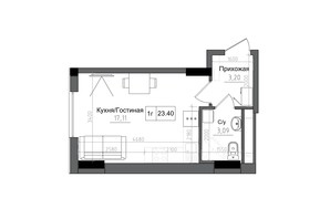ЖК Artville: планировка 1-комнатной квартиры 23.4 м²