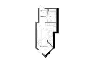 ЖК Artville: планировка 1-комнатной квартиры 25.02 м²