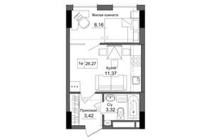 ЖК Artville: планировка 1-комнатной квартиры 26.27 м²