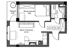 ЖК Artville: планировка 1-комнатной квартиры 34.39 м²